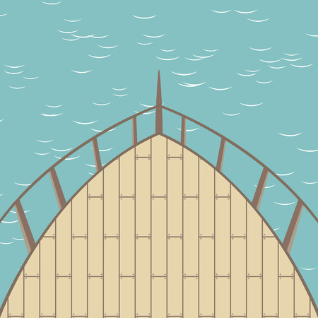 Afterdeck of a boat and a sea. Vector illustration Illustration
