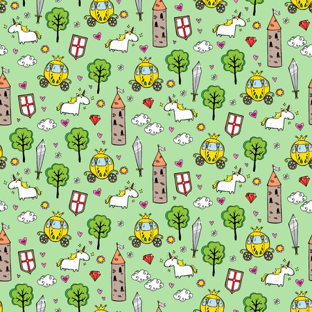 brougham: Seamless patterns with towers and broughams in cartoon style. vector illustration