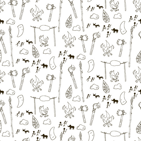 prehistorical: Seamless prehistorical pattern in cartoon style. Vector illustration