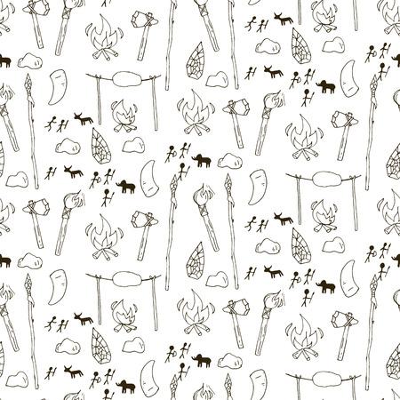 prehistorical: Seamless prehistorical pattern in cartoon style. Vector illustration