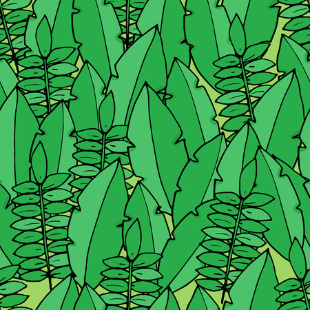 Seamless pattern with palm leafs in cartoon style. Vector illustration.