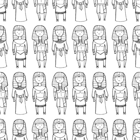 saintly: Seamless pattern with cute pharaohs. Vector illustration