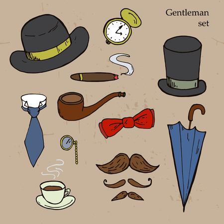 quizzing: Gentlemen set. Umbrella, hat, bow, tie, mustache. Vector illustration
