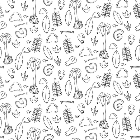 archaeological: Seamless pattern with palms, leafs, sculls and rocks in cartoon style. Vector illustration