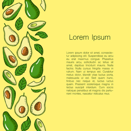 morsel: Template with avocado on background and place for text. Can be used for invitations, greeting cards, menu in restaurants, etc. Vector illustration