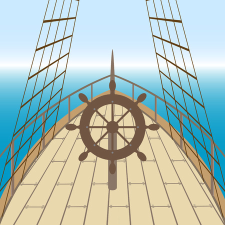 Afterdeck of a boat and a sea. Vector illustration Иллюстрация