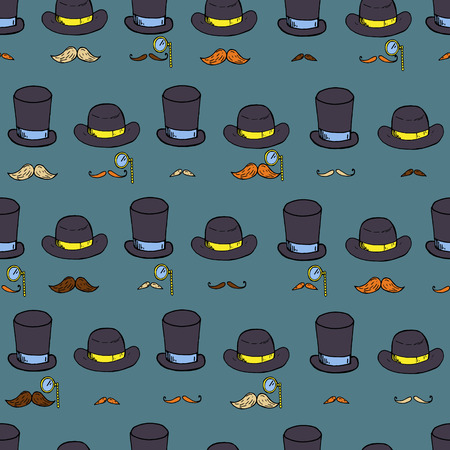 nobleman: Seamless pattern with gentlemen elements, hats and mustache. Vector illustration
