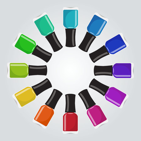 Set of different colors nail polish botthes in a circle shape. Vector illustration