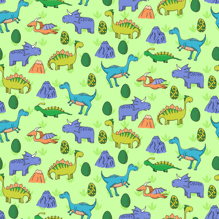 monstrous: Seamless pattern with different cute dinosaurs, mountauns and eggs in cartoon style. Can be used for greeting cards, textile, wallpapers, etc. Vector illustration.