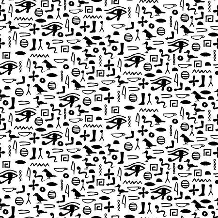 Seamless pattern with egypt hieroglyphs. vector illustration