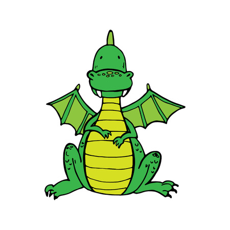 green cute: Green cute dragon in cartoon style. Vector illustration