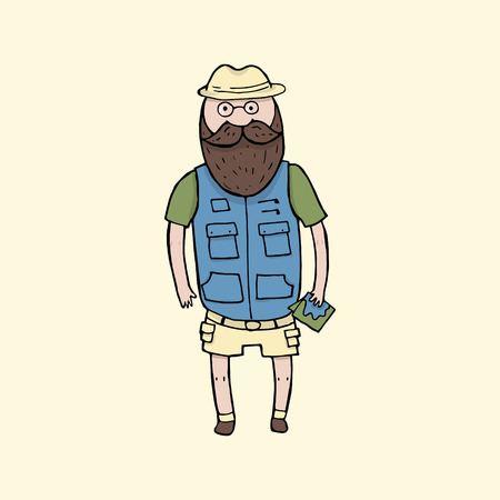exploring: Exploring bearded man with a map. Vector illustration