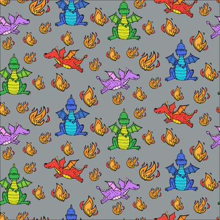 Semaless pattern with cute dragons and fire. vector illustration
