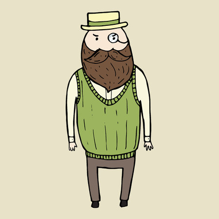 busy beard: Illustration of isolated cute bearded gentleman. Vector illustration