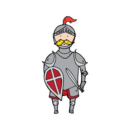 brave of sport: Cute knight with shield and sword. Vector illustration