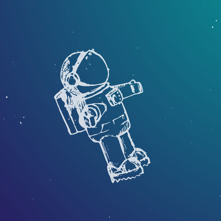 spaceman: Vector illustration. Spaceman in a space in sketch style.