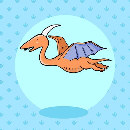anachronistic: Cute dinosaur in cartoon style with footprint on background. Vector illustration