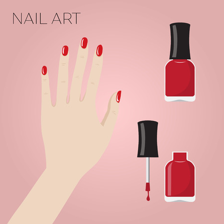 sophistication: Hand with manicure and bottles of nail polish. Vector illustration Illustration