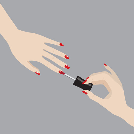 Vector illustration of painting nails in red color Illustration