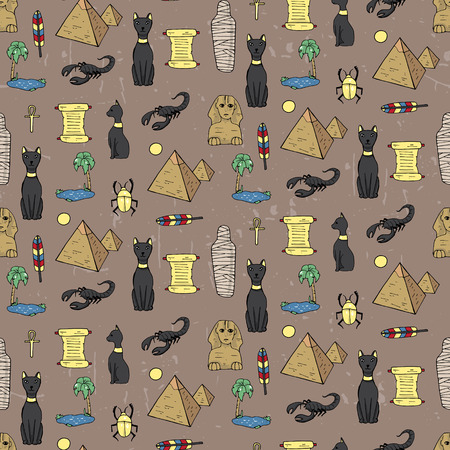 Seamless pattern with egyptean elements such as cats, sphinx, mummy, pyramids, scarabs, etc. Vector illustration Illustration