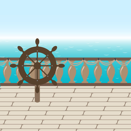 embark: Afterdeck of a boat and a sea. Vector illustration Illustration