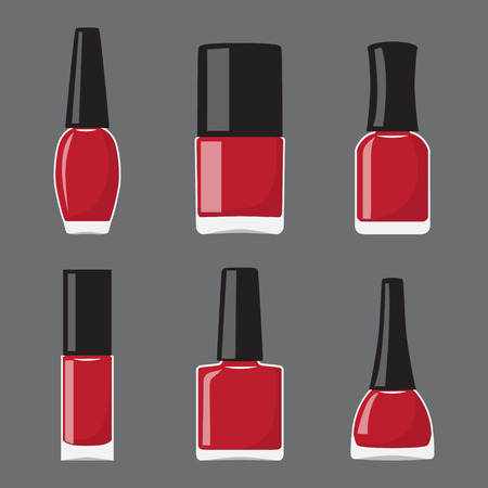 Set of flat different shapes bottles with nail polish. Vector illustration Çizim