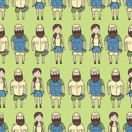 troop: Seamless pattern with different explorers. Vector illustration