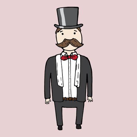 Illustrazione di carino isolato signore con la barba. illustrazione di vettore