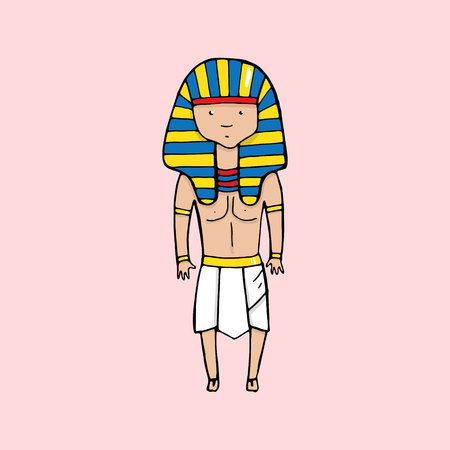 sacrosanct: Cute egyptian pharaoh in cartoon style. Vector illustration