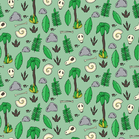 annals: Seamless pattern with palms, leafs, sculls and rocks in cartoon style. Vector illustration