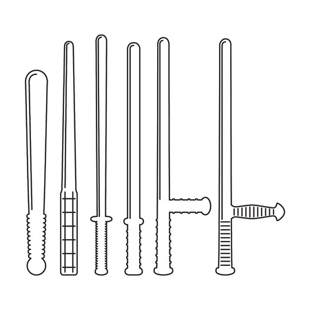 nightstick: Set of different tranchions in flat style. Vector illustration