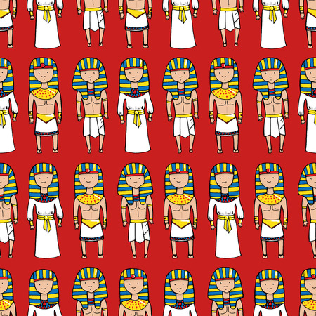 egypt anubis: Seamless pattern with cute pharaohs. Vector illustration