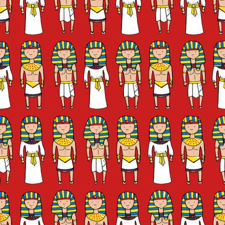 tutankhamen: Seamless pattern with cute pharaohs. Vector illustration