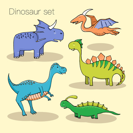 primordial: Set of different cute dinosaurs, mountauns and eggs in cartoon style. Vector illustration