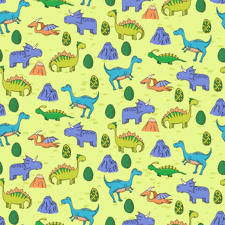 primordial: Seamless pattern with different cute dinosaurs, mountauns and eggs in cartoon style. Can be used for greeting cards, textile, wallpapers, etc. Vector illustration.