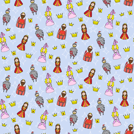 duke: Seamless pattern with princess, queen, king and knight. Vector illustration Illustration