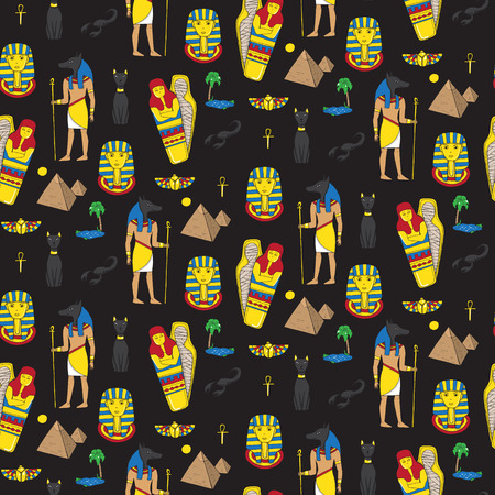 bygone: Seamless pattern with egyptean elements such as anubis, mummy, pyramids, scarabs, etc. Vector illustration