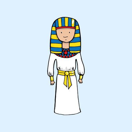 tutankhamen: Cute egyptian pharaoh in cartoon style. Vector illustration
