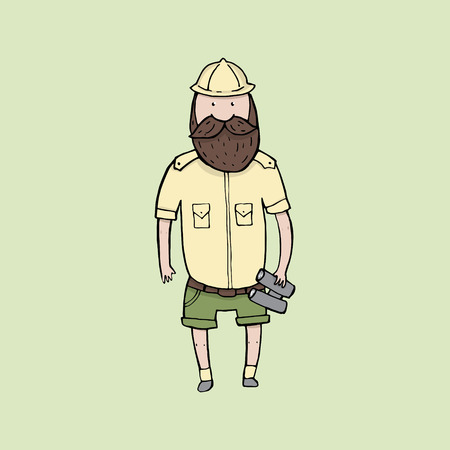 exploring: Exploring bearded man with binoculars. Vector illustration Illustration