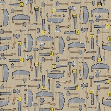 logging: Seamless pattern with different lumber tools. Vector illustration