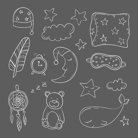 eventide: Set of elements about sleeping. Vector illustration Illustration