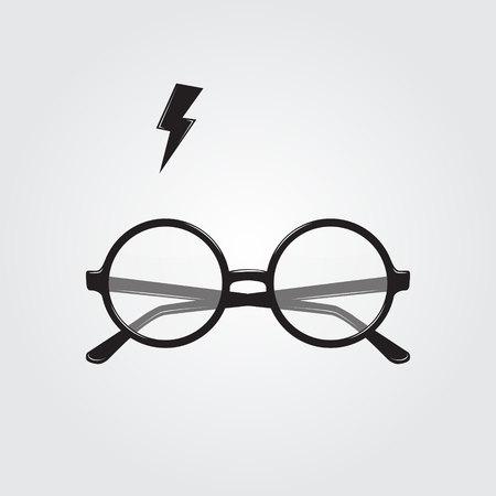 丸眼鏡と照明。ベクトル図  イラスト・ベクター素材