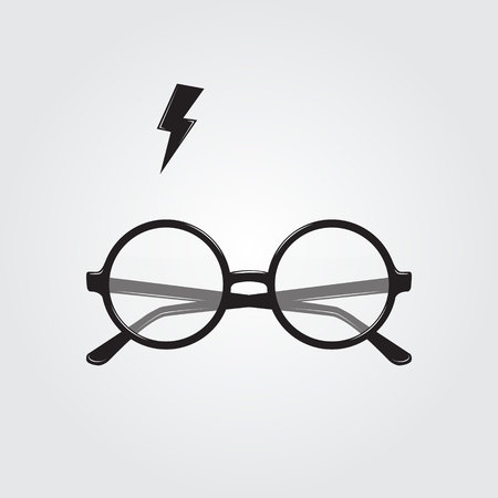 spectacle frame: Round glasses and lighting. Vector illustration