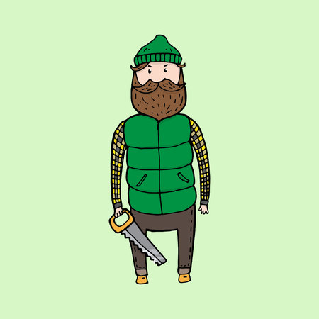 virile: Cute bearded lumberjack with a saw. Vector illustration