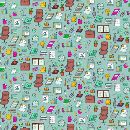 daily grind: Seamless pattern with clerical work elements. Vector illustration Illustration