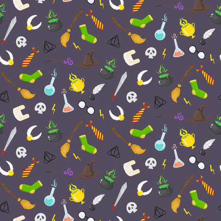 arcanum: Seamless pattern with different magic elements for witches in cartoon style. Vector illustratio Illustration