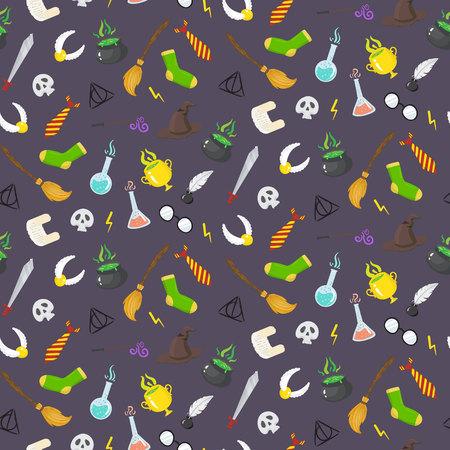 soothsayer: sin patrón, con diferentes elementos mágicos de brujas en estilo de dibujos animados. Botones de vector
