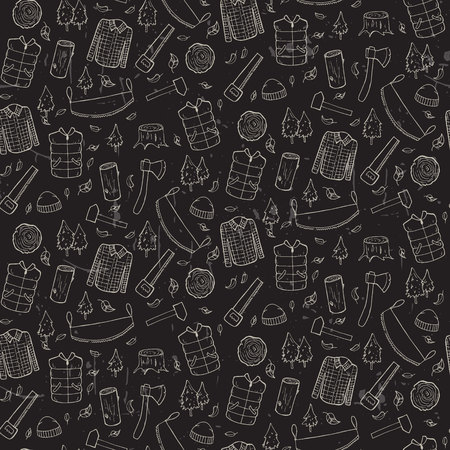 Seamless pattern with lumberjack's elements. Vector illustration