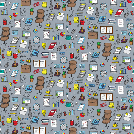 specialization: Seamless pattern with clerical work elements. Vector illustration Illustration