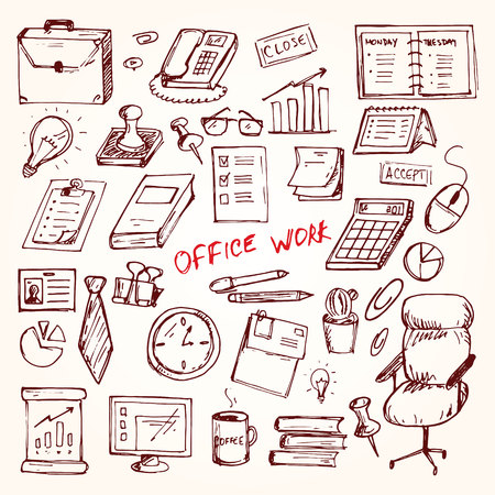 telephonist: Set of elemets of work in office. Vector illustration